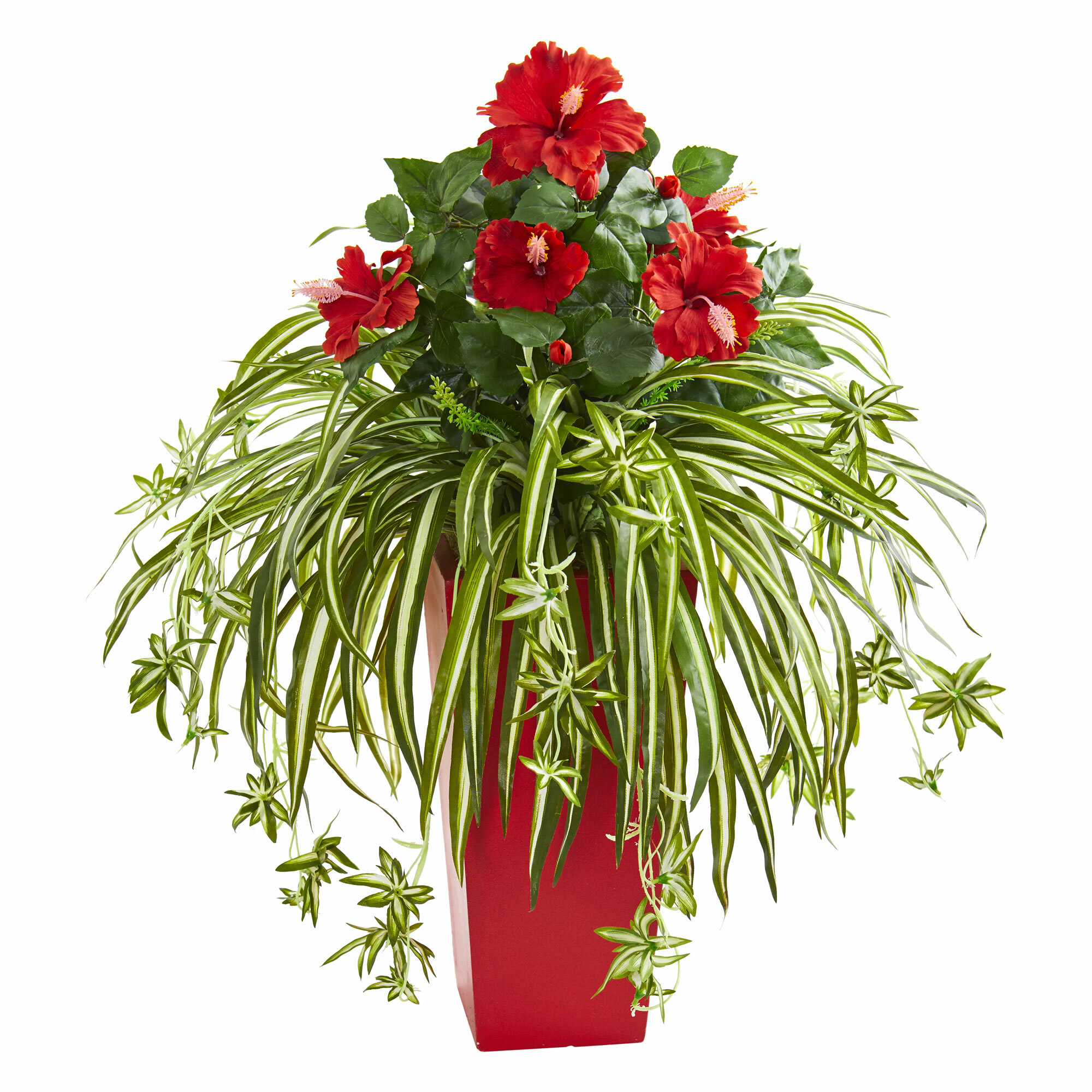 Red Barrel Studio Artificial Hibiscus And Spider Plant Floral