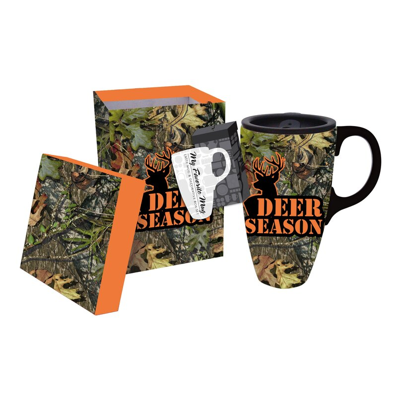 Mossy Oak 17 Oz Ceramic Latte Travel Coffee Cup With Gift Box