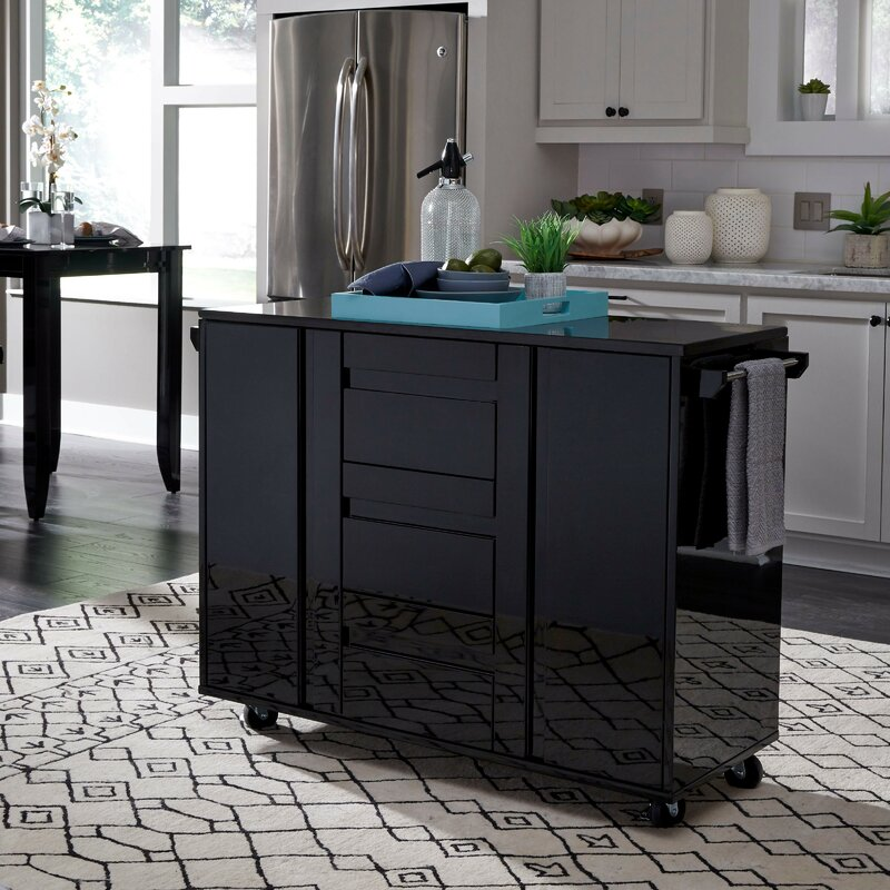 Latitude Run Emblyn Kitchen Island Cart With Granite Top Reviews Wayfair