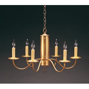 Socket Hanging Cylinder J-Arms 6-Light Candle-Style Chandelier
