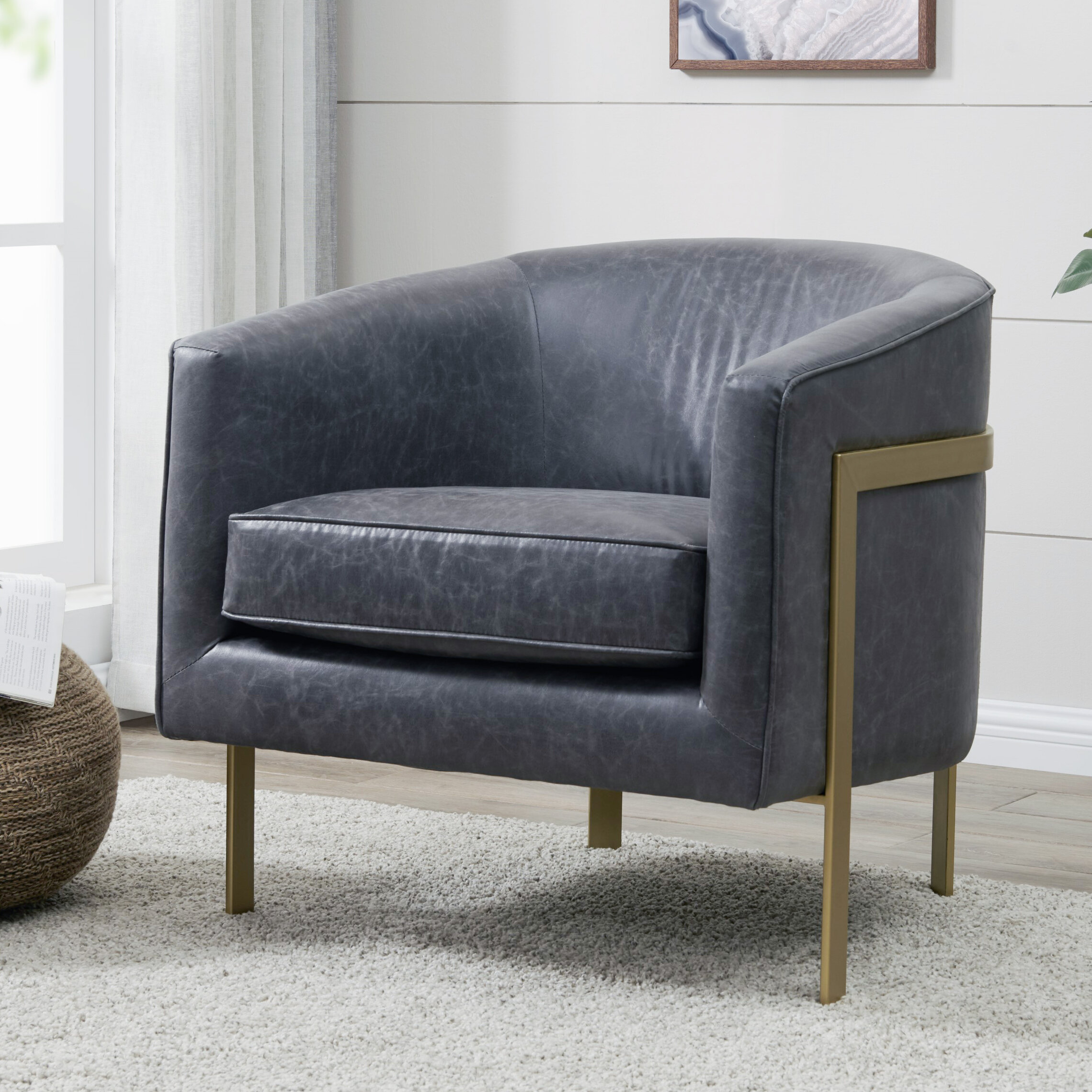 Picture of: Everly Quinn Castiel 30 W Faux Leather Barrel Chair