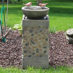 Cletus Fiberglass Birdbath Basin On Pedestal Garden Water Fountain