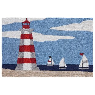 Shelborne Lighthouse Hand-Tufted Blue Indoor/Outdoor Area Rug