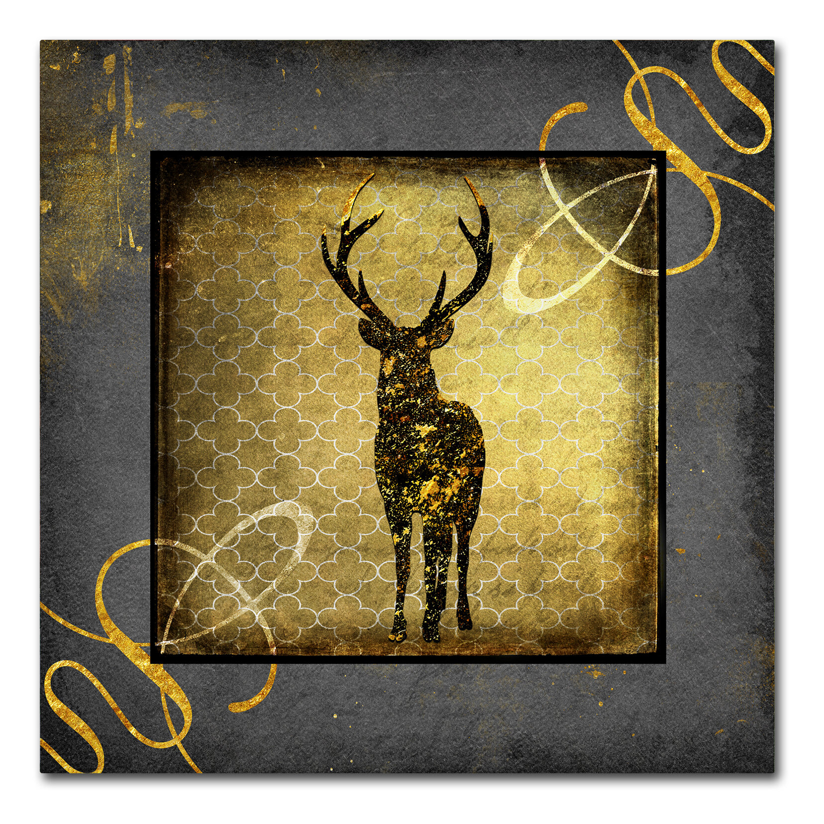 Wrought Studio \'Black & Gold - Stag\' Graphic Art Print on Wrapped ...