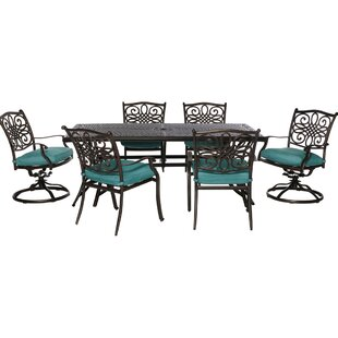 Three Posts Lauritsen 7 Piece Dining Set with Blue Cushions