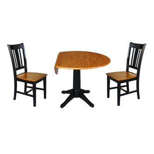 Badger Round Top 3 Piece Drop Leaf Solid Wood Dining Set by Alcott Hill