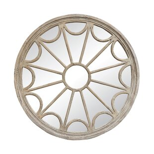 Ophelia & Co. Beaufort Wood Framed Round Wall Mirror