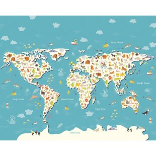 Animals Of The World Map 24m X 300cm Wallpaper Mural