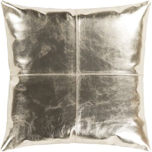 Ritz Champagne Hide Leather Throw Pillow