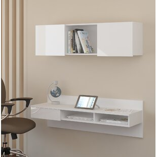 Online Reviews Brylee Wall-Mounted Floating Desk with Hutch By Orren Ellis