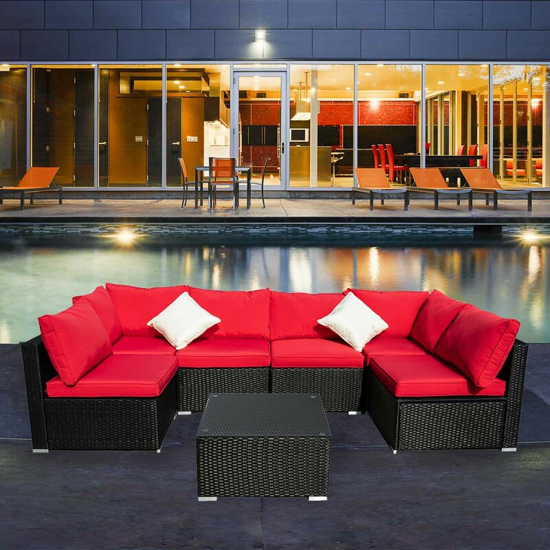 Longshore Tides Breccan Patio Furniture On Clearance 7 Piece Rattan Sectional Seating Group With Cushions Reviews Wayfair