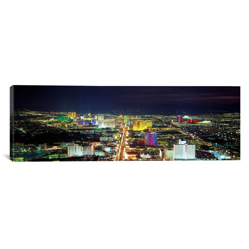 Ebern Designs Panoramic Skyline Las Vegas Nevada Photographic Print On Canvas Wayfair
