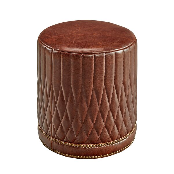 Furniture Classics Paris Flea Leather Pouf Perigold