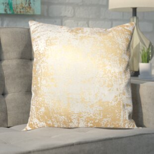 Biscoe Distressed Metallic Throw Pillow
