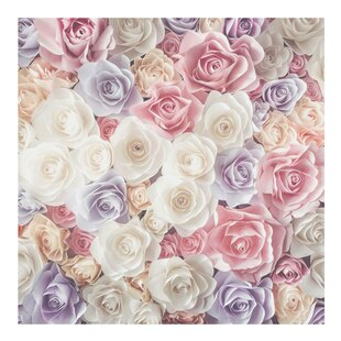 Rose Pastel Paper Art Semi-Gloss Wallpaper Roll