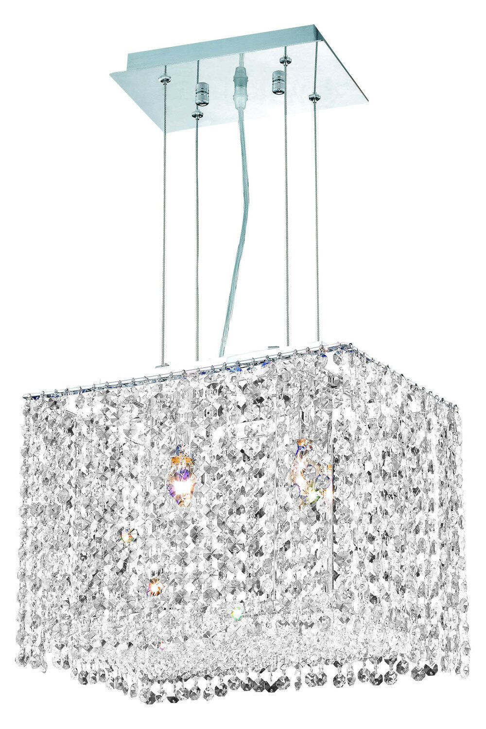 Everly Quinn Bella Vista 2 Light Unique Statement Rectangle Square Chandelier With Crystal Accents Wayfair