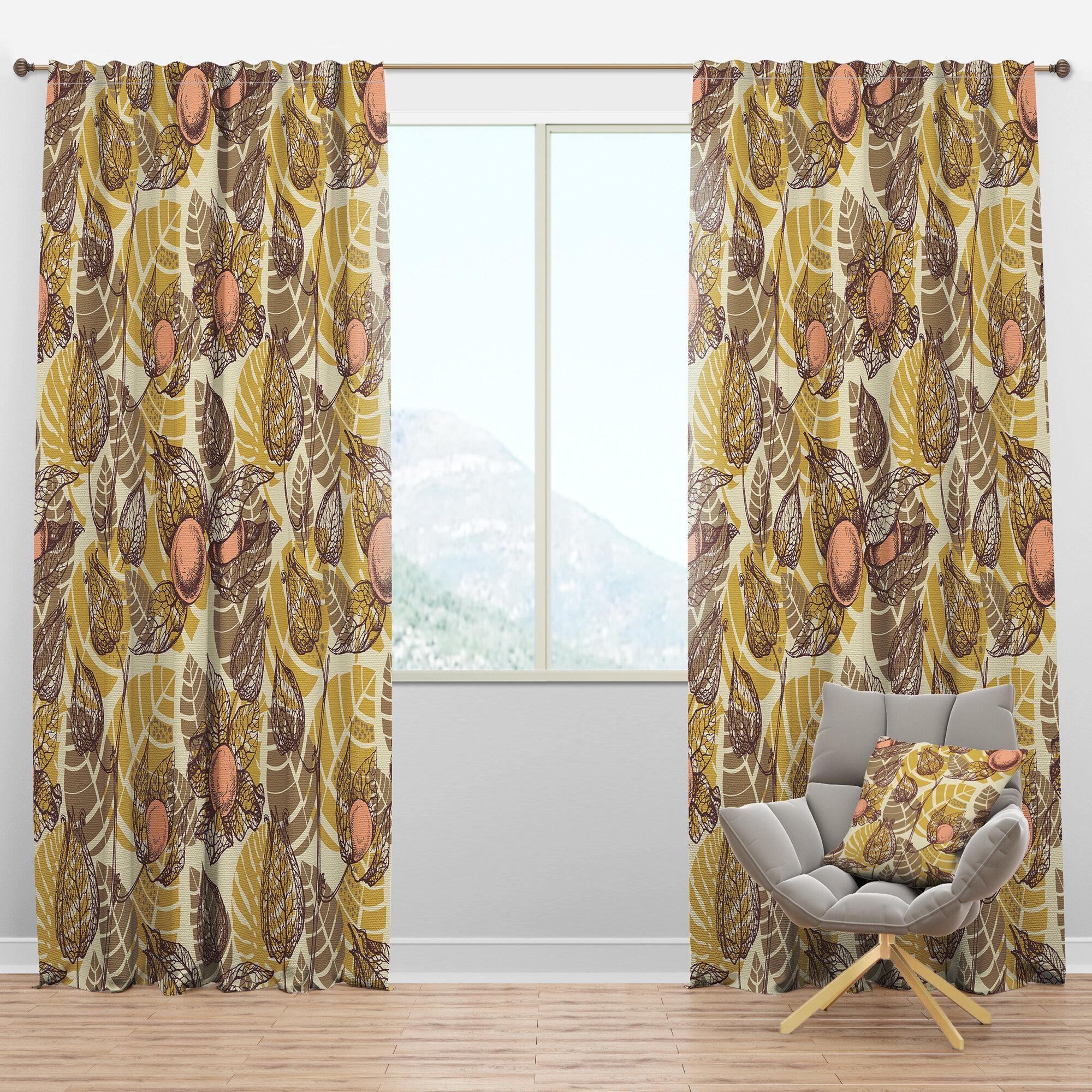 Designart Mid Century Physalis Drawing Floral Semi Sheer Thermal Rod Pocket Curtain Panels Wayfair