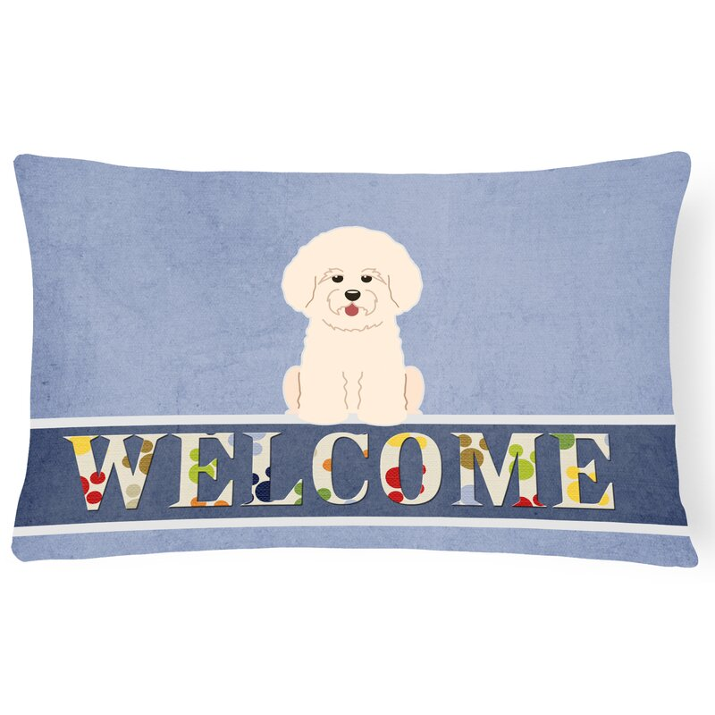 Red Barrel Studio Rathbone Bichon Frise Welcome Lumbar Pillow