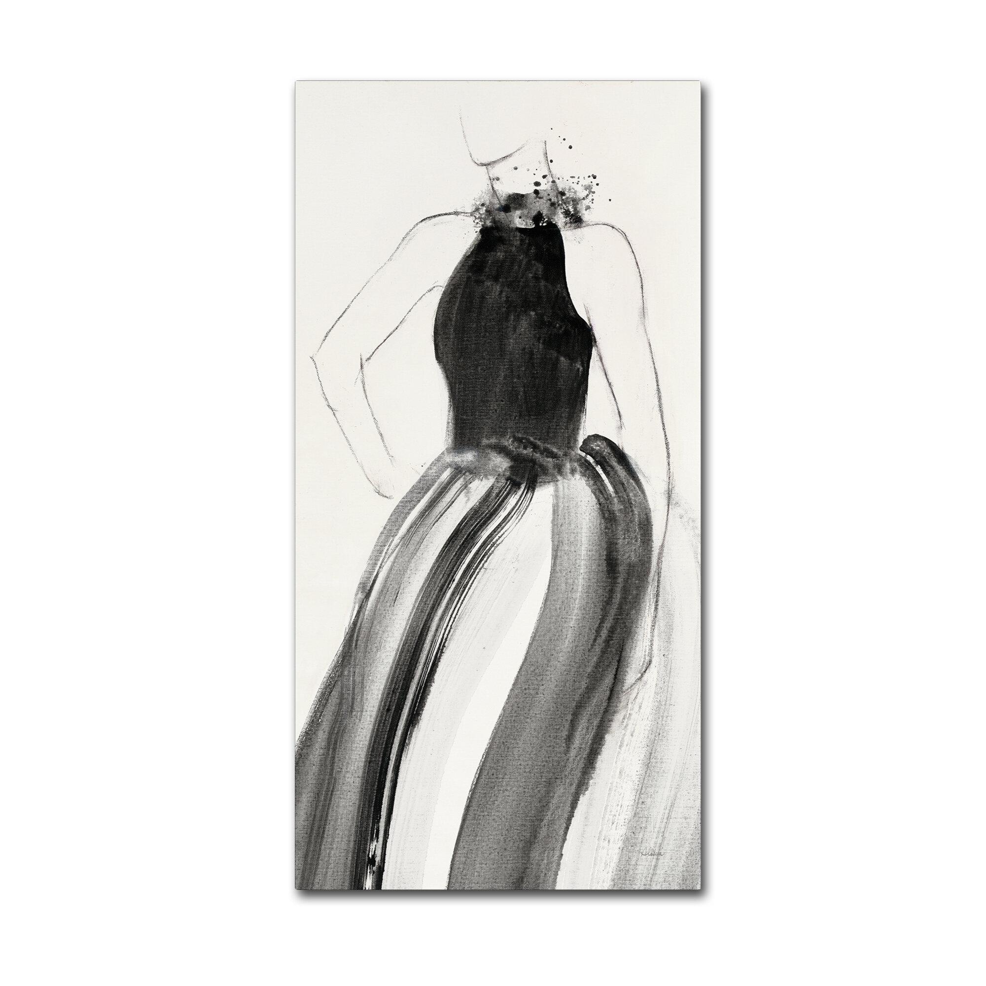 House Of Hampton Fashionista Ii Charcoal Drawing Print On Wrapped Canvas Wayfair