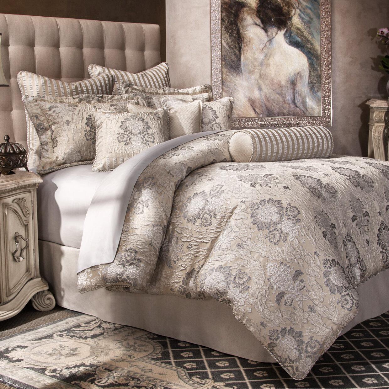Michael Amini Distinctive Bedding Designs Sycamore Silver Damask 10 Piece Comforter Set Wayfair