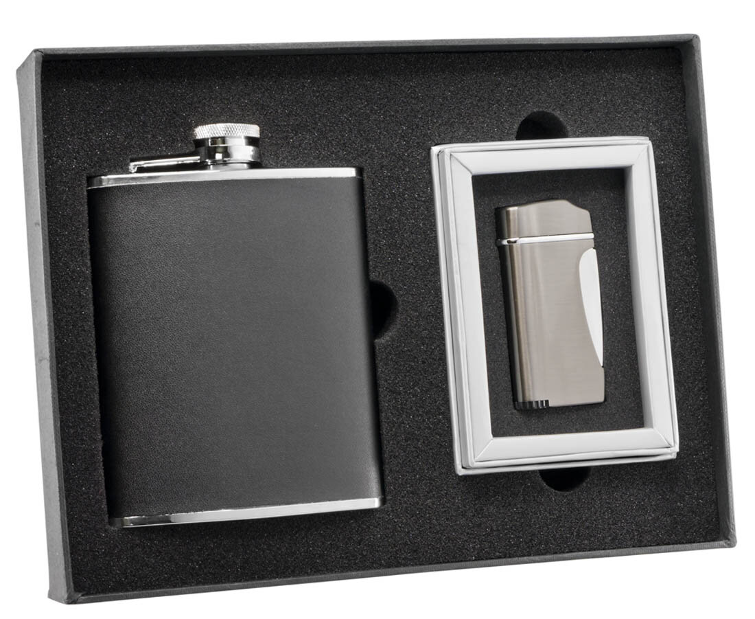 Visol Products Leather Flask And Lighter Wayfair