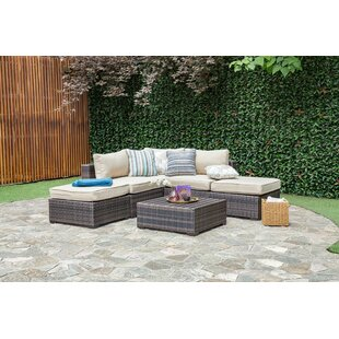 Brayden Studio Lara 6 Piece Rattan Sectional Set with Cushions