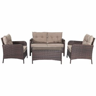 Gaskins 4 Piece Rattan Sofa Set with Cushions