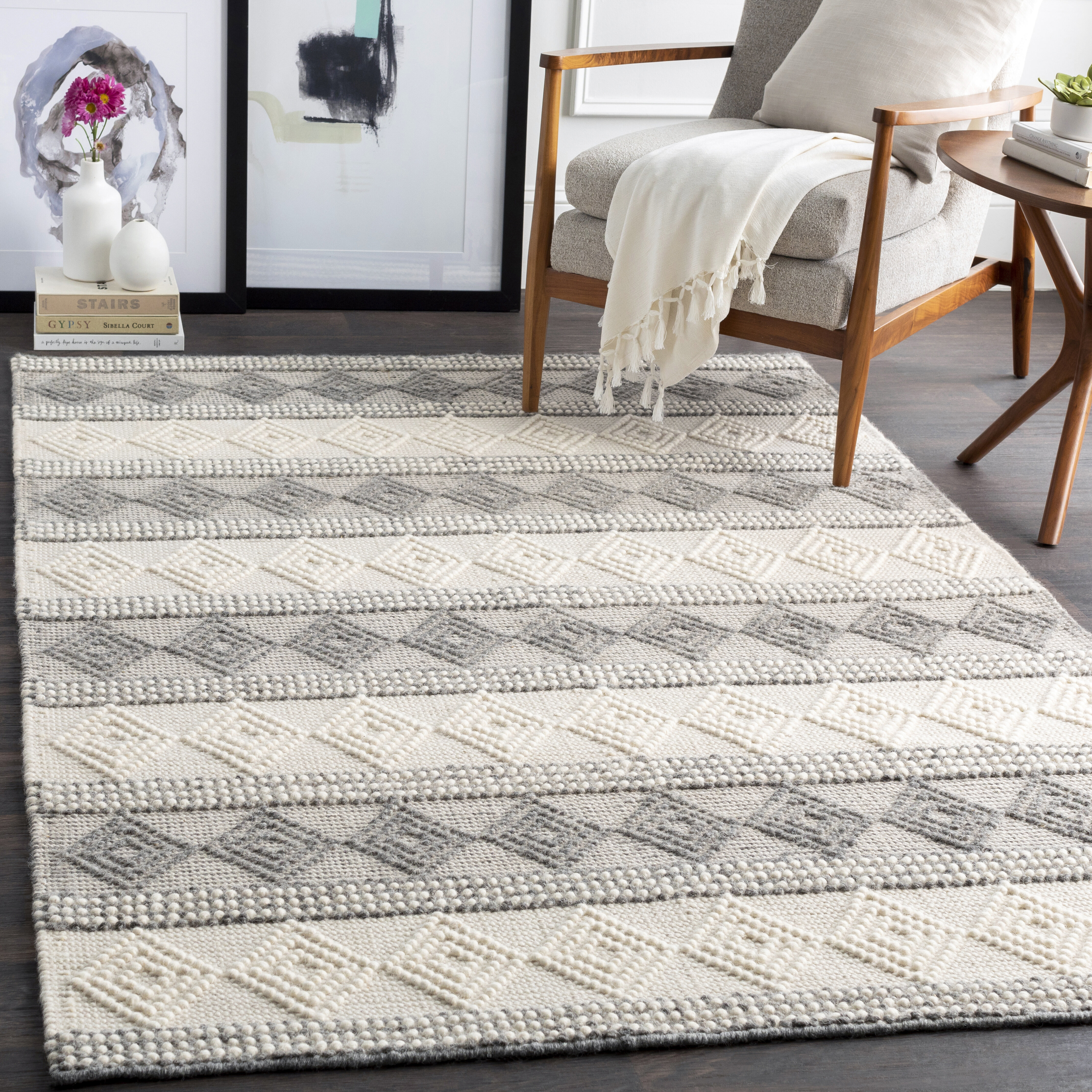 Union Rustic Clancy Handwoven Wool Beige Gray Cream Rug Wayfair