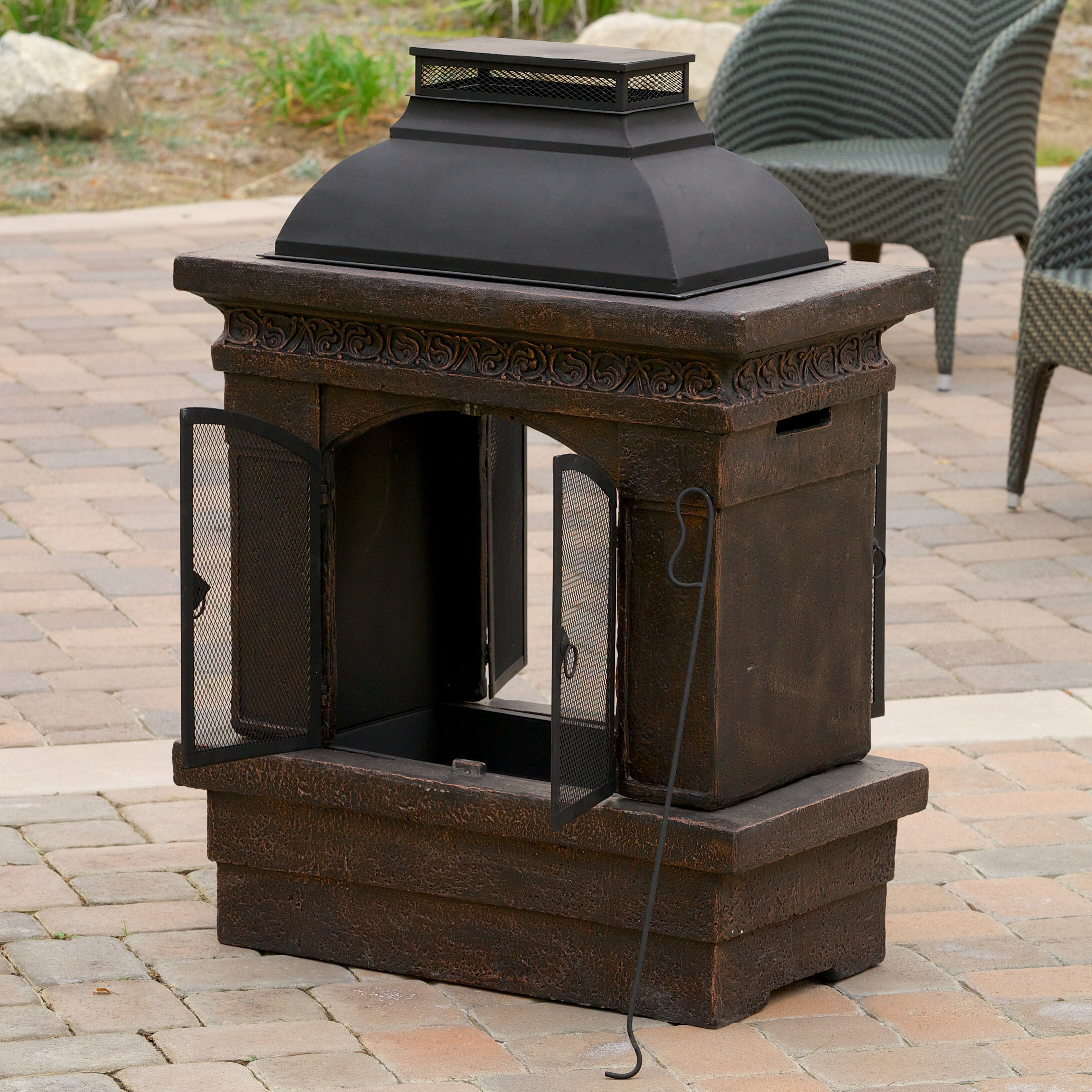 Home Loft Concepts Barbados Cast Iron Wood Burning Outdoor Fireplace