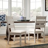 Carrera Upholstered Ladder Back Side Chair in Weathered White (Set of 2) by August Grove®