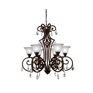 Check Prices Shakira 6-Light Shaded Chandelier By CWI Lighting