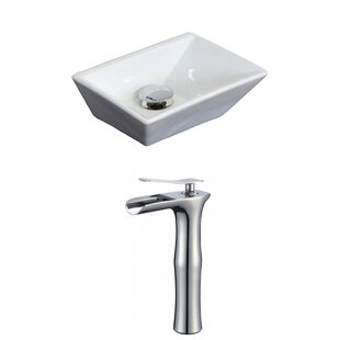 American Imaginations Emily Ceramic Rectangular Vessel Bathroom Sink with Faucet and Overflow