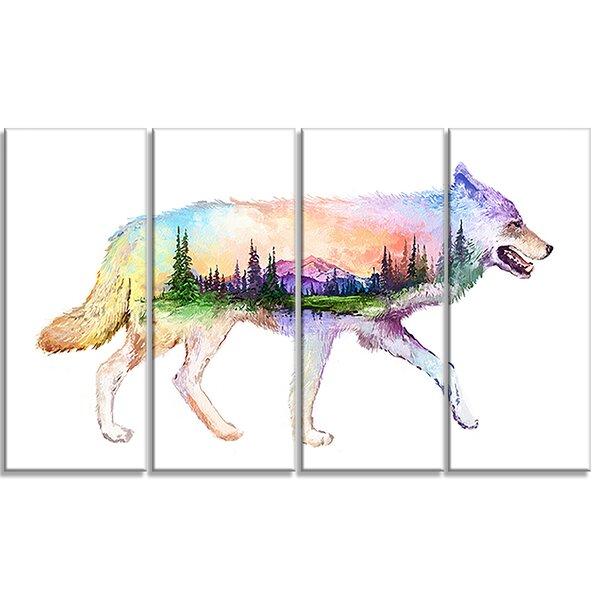 Designart Wolf Double Exposure Illustration 4 Piece Graphic Art On Wrapped Canvas Set Wayfair