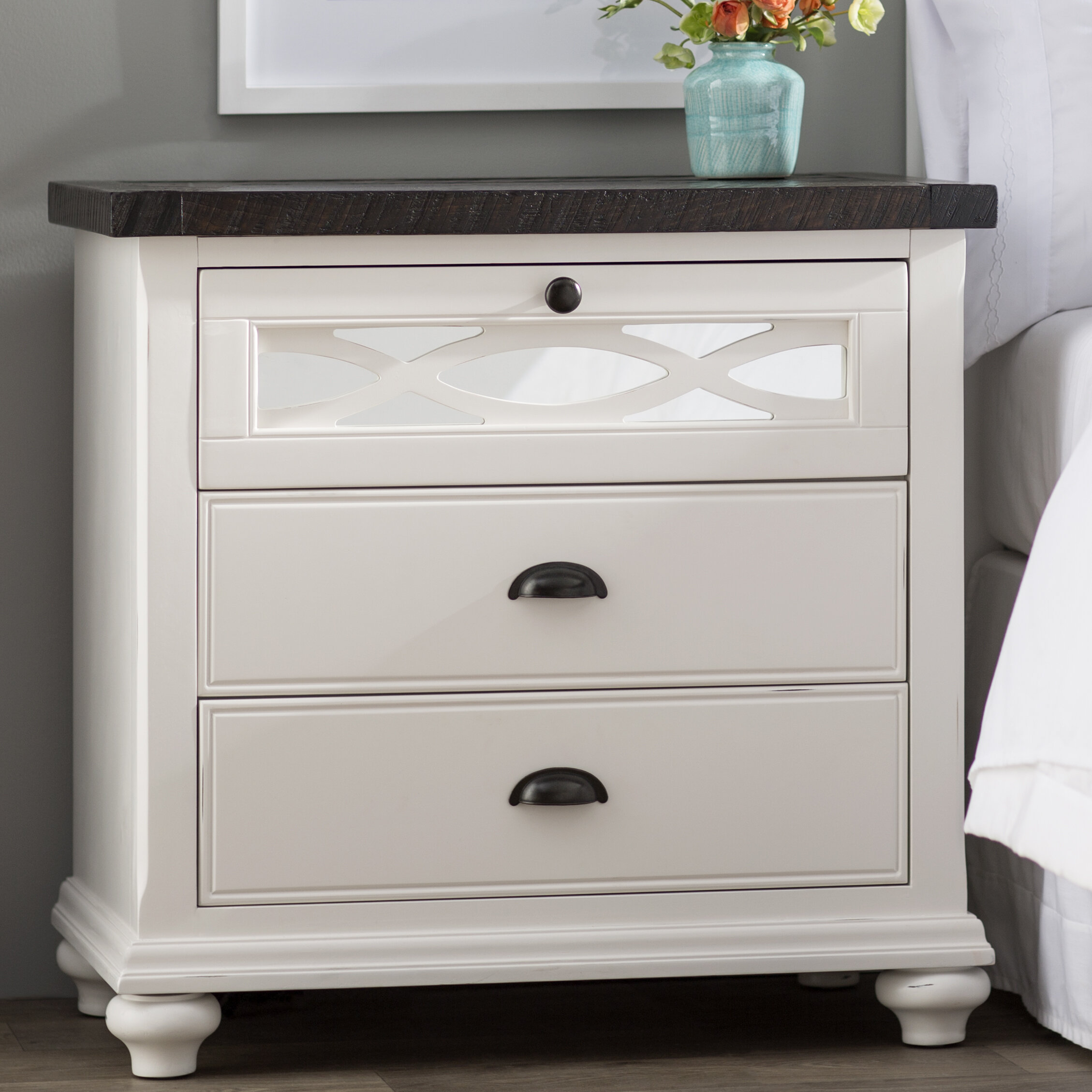 table chic nightstand white bedside shabby zoom bedroom fleur drawer