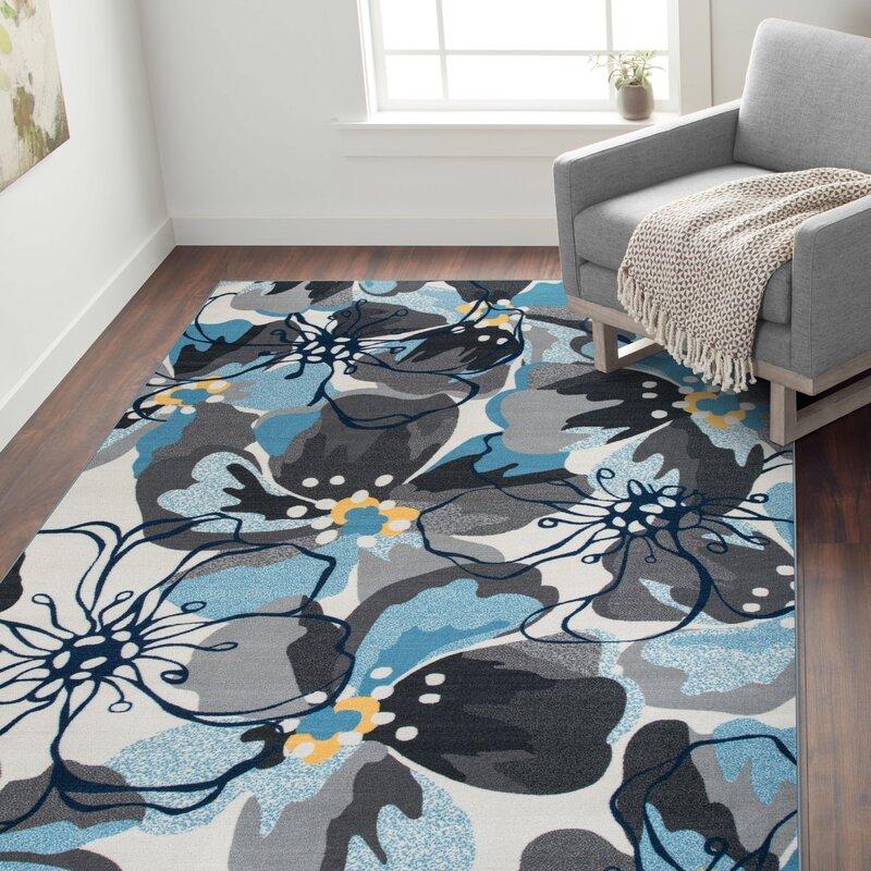 Ebern Designs Dicha Floral Tufted Gray Silver Area Rug Reviews Wayfair
