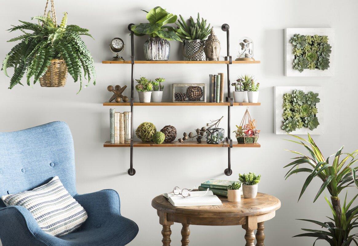 Nearly Natural Boston Fern Plant in Basket & Reviews | Wayfair