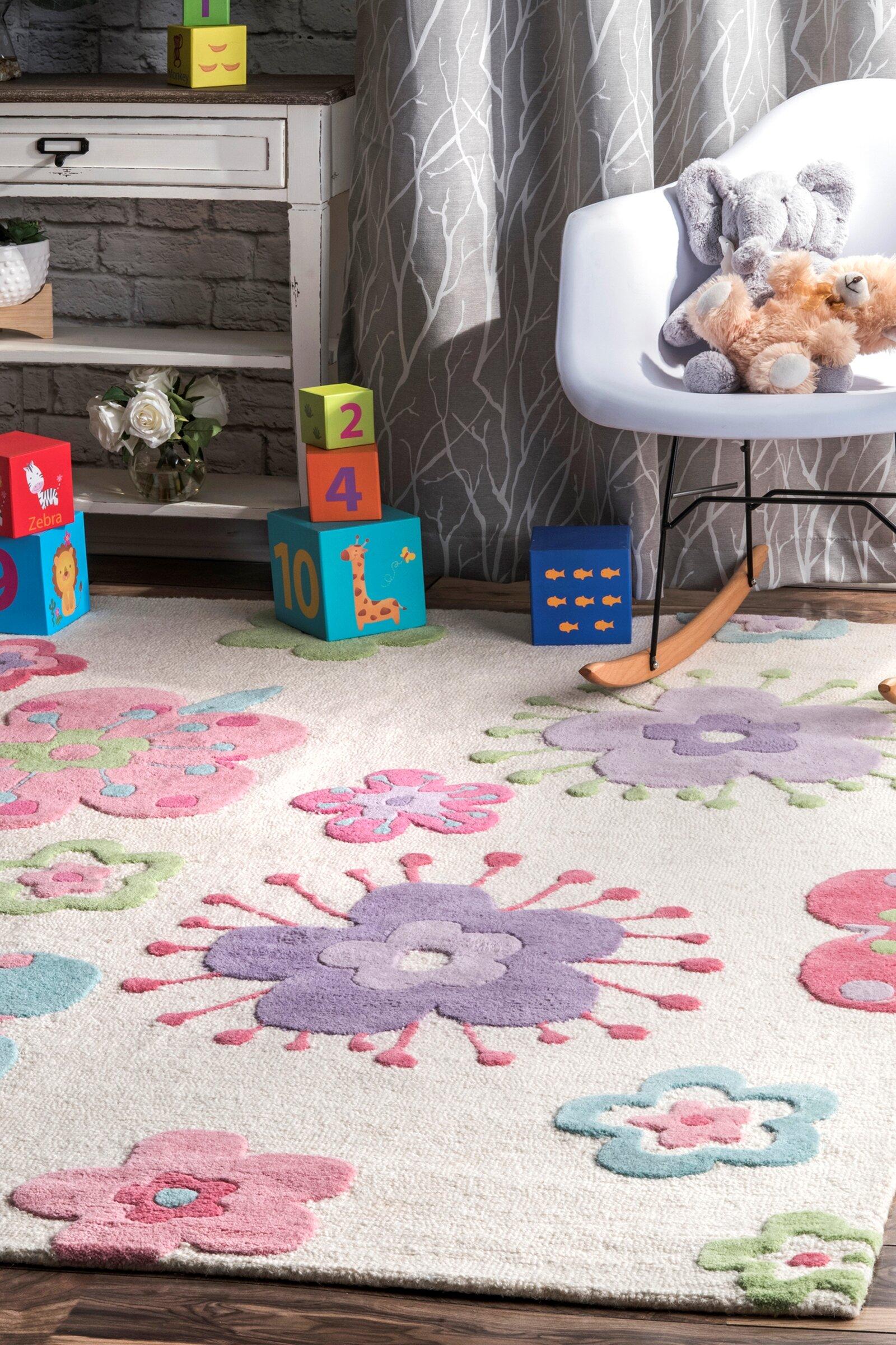 Zoomie Kids Holloman Hand Woven Wool Pink Blue Area Rug Wayfair