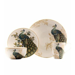 Serene Peacock 16 Piece Dinnerware Set, Service for 4
