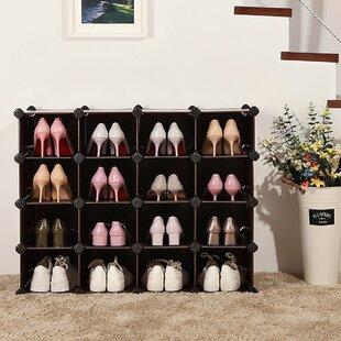 Compare 16 Pair Shoe Rack By Rebrilliant