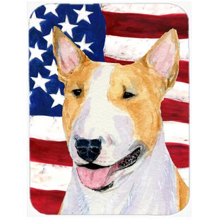 Patriotic USA American Flag with Bull Terrier Glass Cutting Board ByCaroline's Treasures