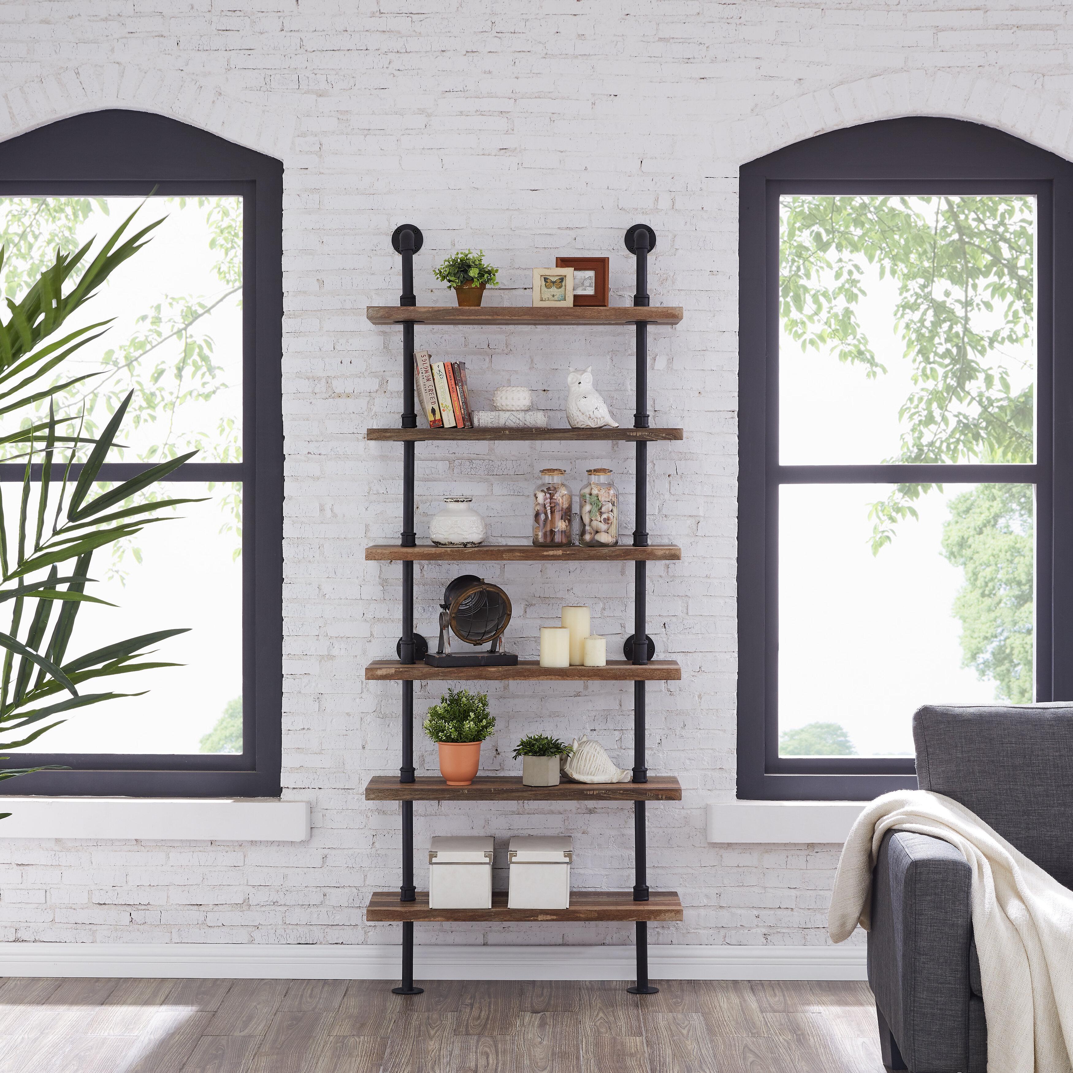 Edwa Iron Pipe Wall Mount Ladder Bookcase