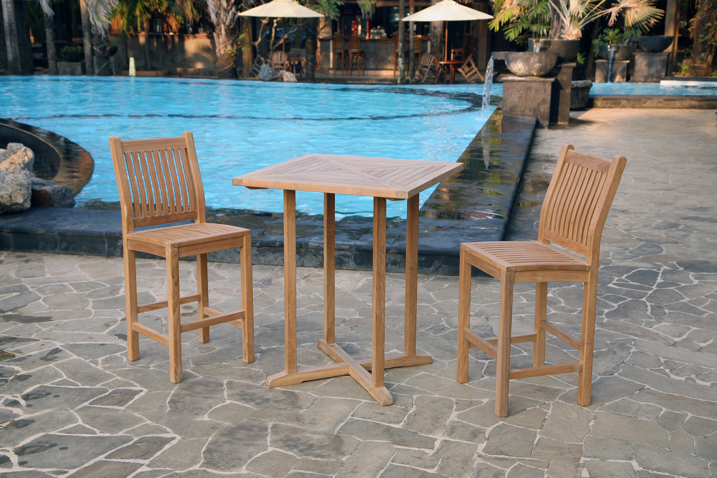 Breakwater Bay Belleair Piece Teak Bar Height Dining Set Wayfair - Teak bar height table and chairs