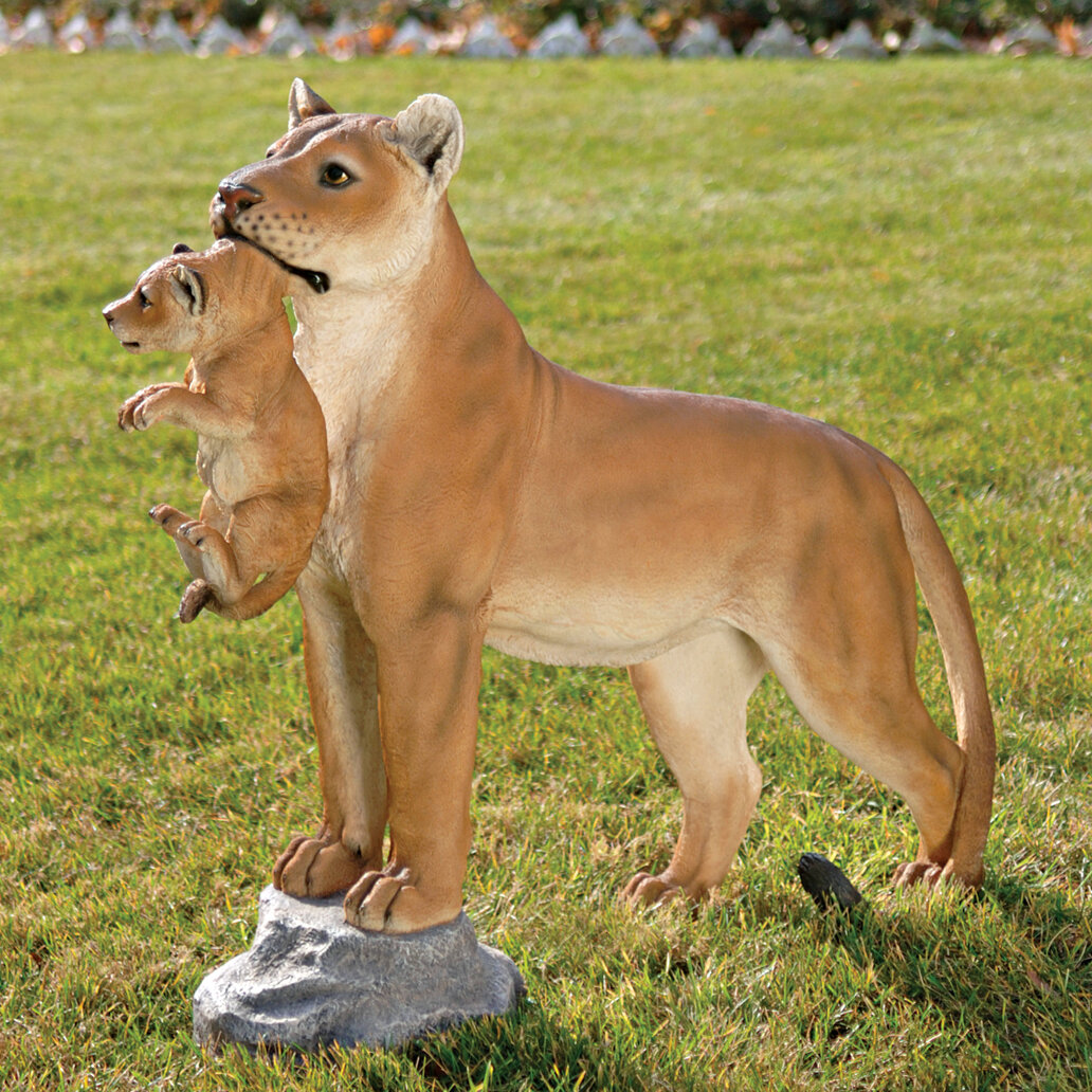 Design Toscano Lioness With Cub Statue Reviews Wayfair