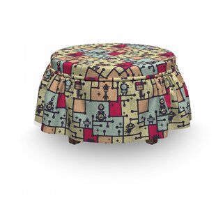 Space Robots On Grid Squares 2 Piece Box Cushion Ottoman Slipcover Set By East Urban Home