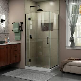 Aston Bromley Gs Frameless Corner With Glass Shelves 70 X 72 Rectangle Hinged Shower Enclosure Wayfair