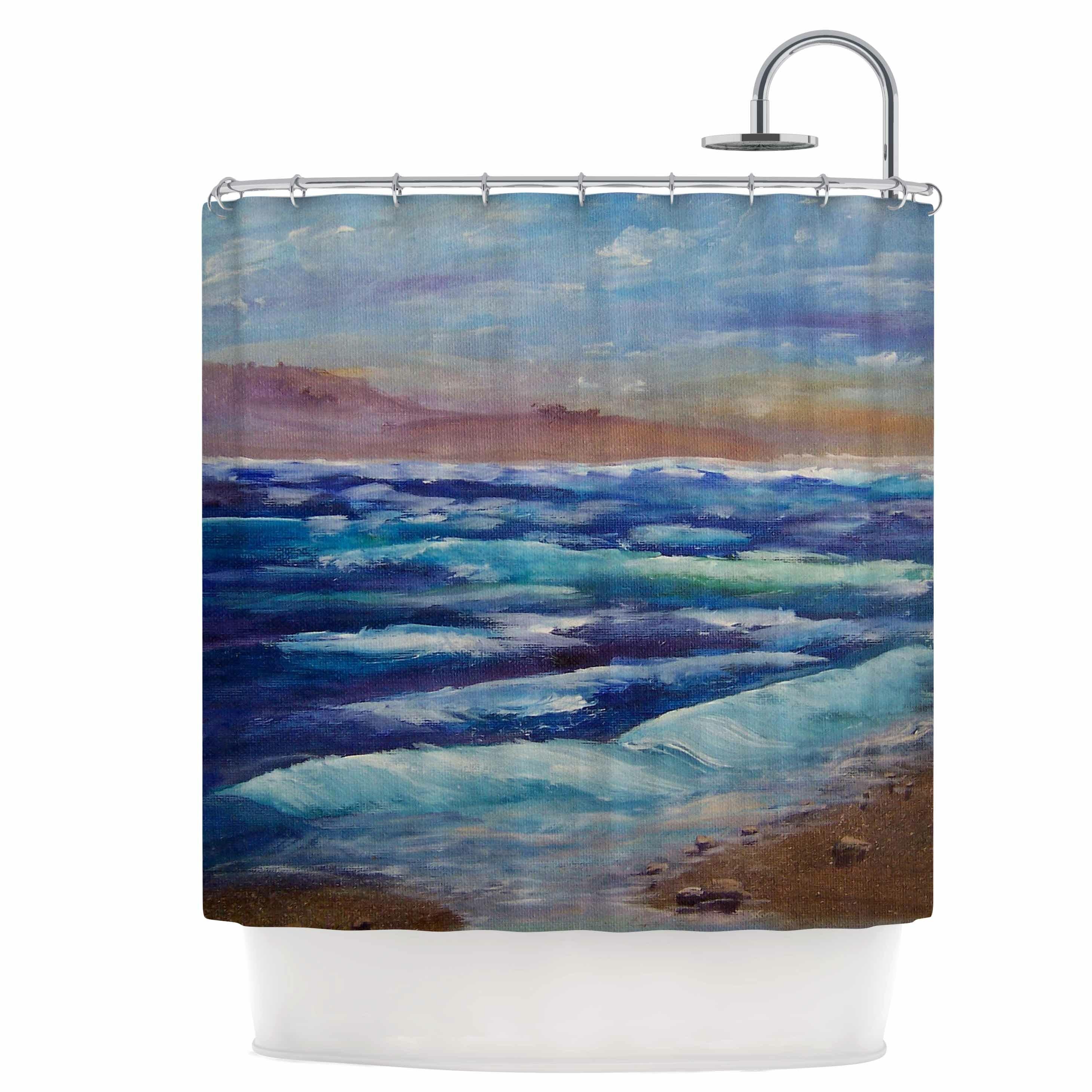 69 by 70 Kess InHouse Nick Nareshni Solana Beach Rolling Waves Blue Coastal Shower Curtain
