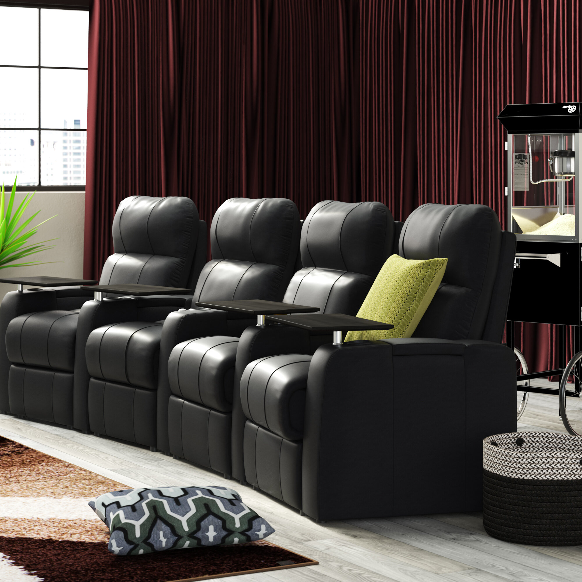 Laude Run Leather Home Theater Row Seating Of 4 Reviews Wayfair