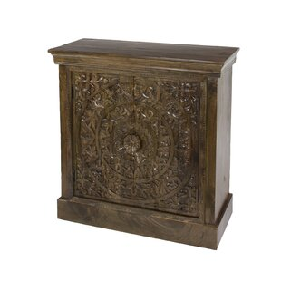 Chaska Small Hand-Carved Square Wood 2 Door Accent Cabinet