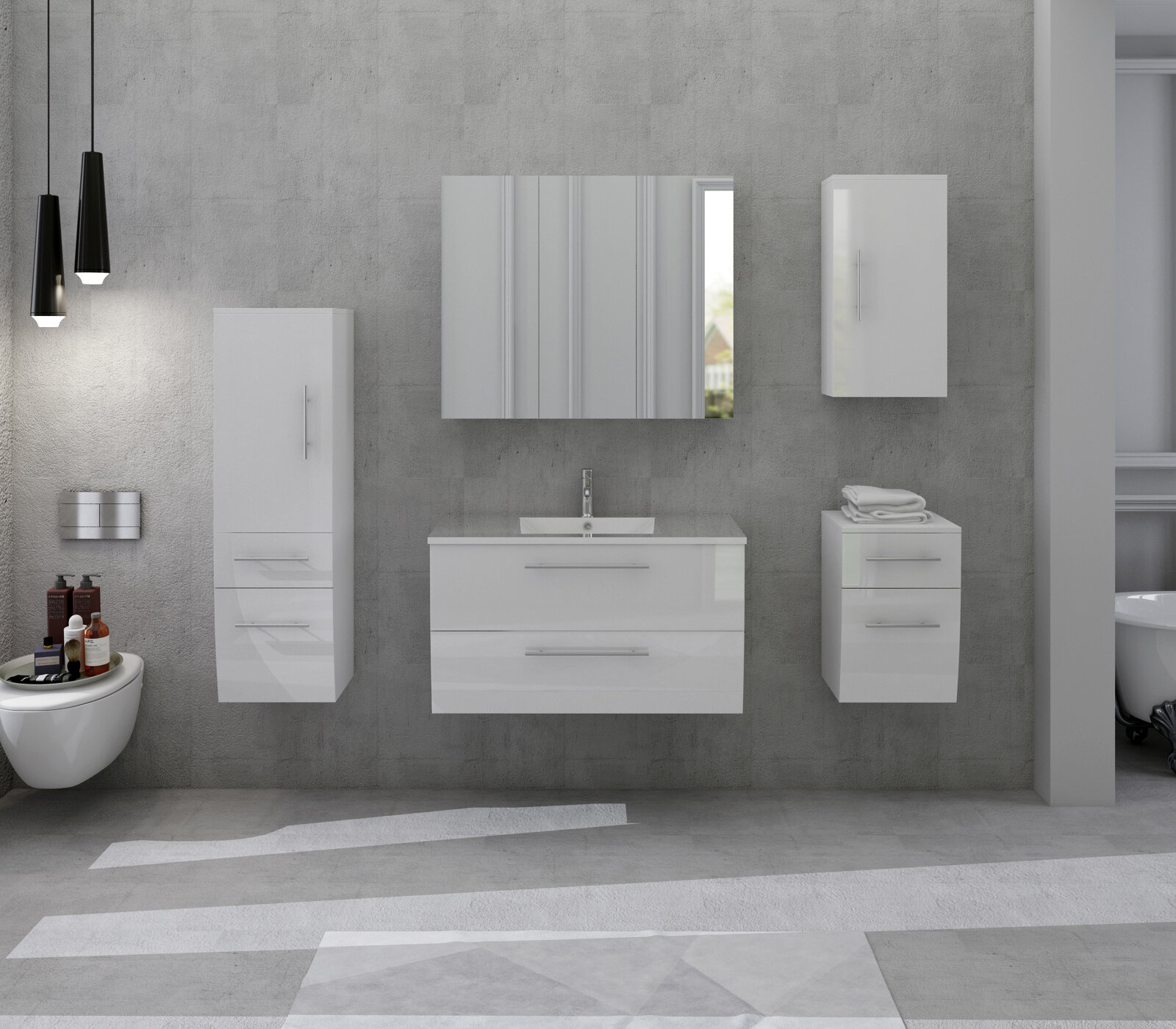 Chugg 8.8cm x 8cm Wall Mounted Bathroom Set