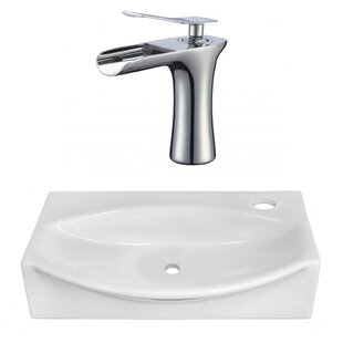 Ceramic 17 Wall Mount Bathroom Sink with Faucet By American Imaginations